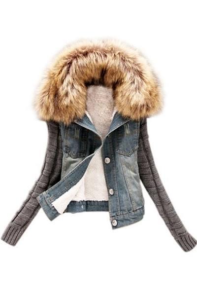 Patchwork Fur Collar Stylish Overcoat