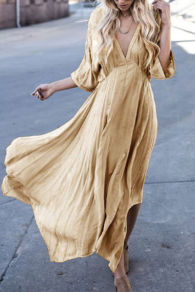 Deep V Neck  Asymmetric Hem  Plain  Half Sleeve Maxi Dresses