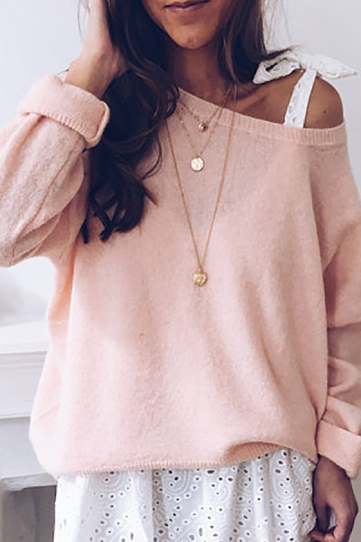 Casual Round Neck Pure Colour Regular Sweater