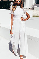 Lace Crew Neck Splicing Elegant Jumpsuit