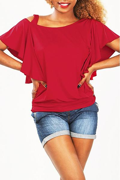 Asymmetric Neck Flounce Plain T-shirt