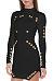 High Neck  Asymmetric Hem Metal Eyelet Zipper  Plain Bodycon Dresses