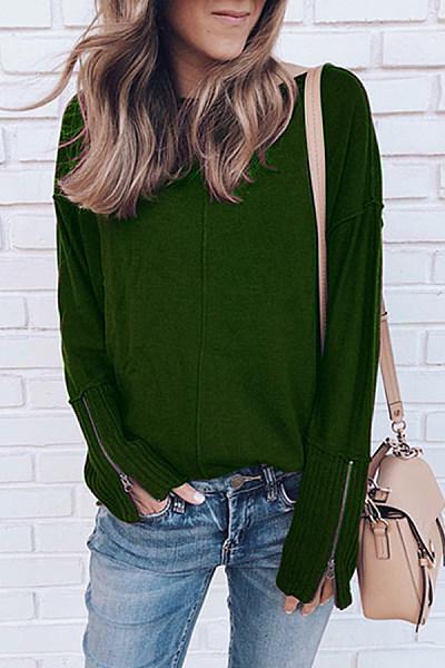 Round Neck  Zipper  Plain Sweaters