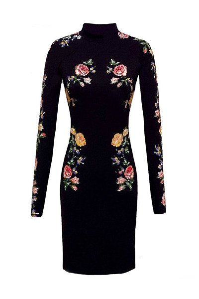Band Collar Floral Printed Bodycon Dress
