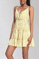 Spaghetti Strap  Printed  Sleeveless Skater Dresses