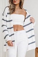 Above Knee  Cotton Striped Cardigans