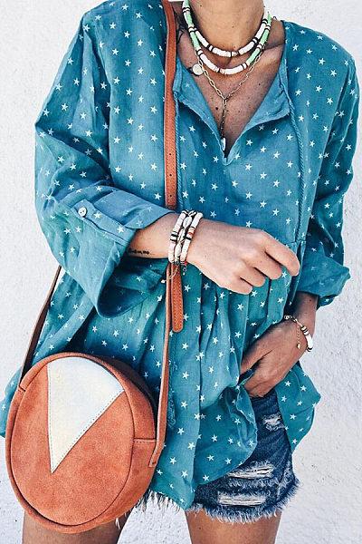 Sweet Long Sleeve Star Printed Colour Tassel Blouses