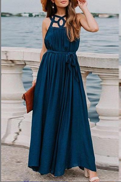 Elegant Sleeveless Solid Color Dress