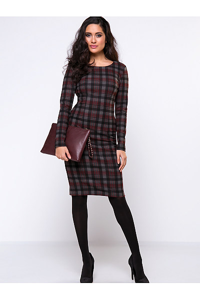 Round Neck Slit Plaid Elegant Bodycon Dress
