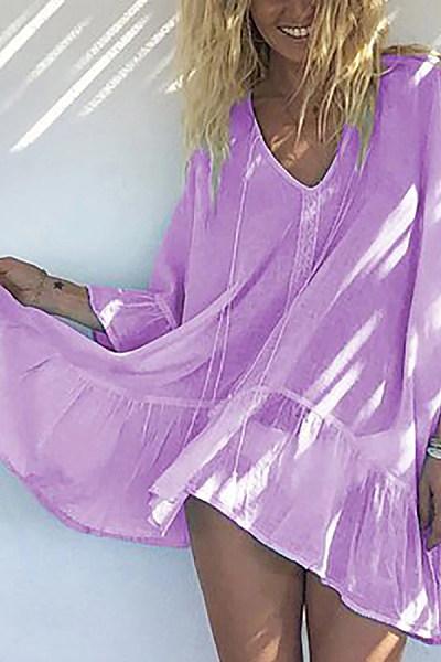 V Neck  Plain  Casual Casual Dresses