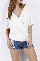 Deep V Neck  Asymmetric Hem  Plain T-Shirts