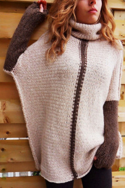 Turtle Neck  Patchwork  Batwing Sleeve Sweaters