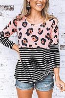 Round Neck  Leopard Striped T-Shirts