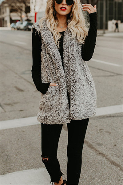 Hooded  Casual  Basic Plain Outerwear