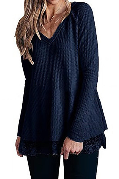 Casual V Neck Lace Hem Long Sleeve Loose T-Shirt