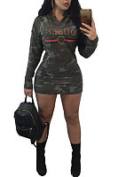 Hooded  Camouflage Letters Bodycon Dresses