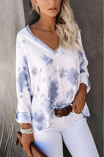 Casual Printed Color Long Sleeve V Neck T-Shirt