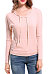 Pink Cotton V Neck Patchwork Plain Long Sleeve Hoody
