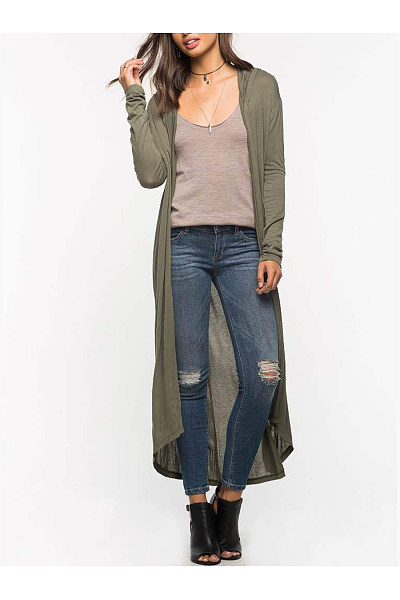 Asymmetric Hem  Plain Cardigan