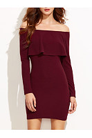 Off Shoulder Flounce Plain Bodycon Dress