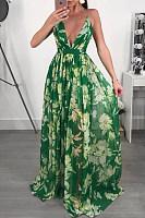 Halter  Backless  Belt Loops  Print  Sleeveless Maxi Dresses