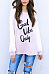 Round Neck  Letters Patchwork T-Shirts