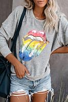Casual Round Neck Long Sleeve Printed Sweatshirt
