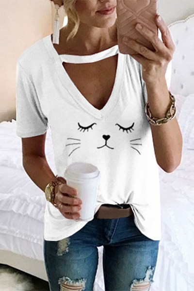 Fashion Short Sleeve Printed Colour Loose T-Shirt