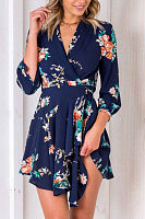 V Neck  Asymmetric Hem  Floral Printed Casual Dresses