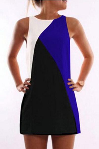 Round Neck  Contrast Trim  Contrast Stitching  Sleeveless Casual Dresses