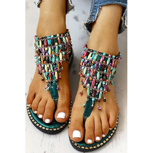 Casual National Wind Wave Simian Beaded Toe Flat Sandals