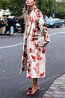 Fold Over Collar  Floral Outerwear