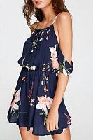 Spaghetti Strap  Floral Printed  Extra Short Sleeve Casual Dresses