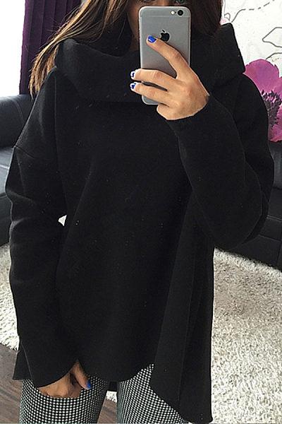Cowl Neck  Asymmetric Hem  Plain Hoodies