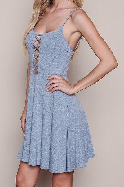 Grey Cross Straps Plain Casual Dress