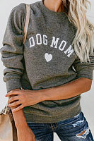 Crew Neck  Letters Casual  Sweatshirts