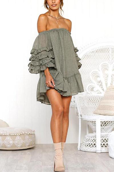Off Shoulder  Backless  Plain  Long Sleeve Skater Dresses