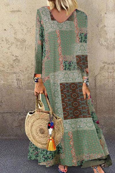 Long-Sleeved Printing Loose Waist Split-Joint Dress
