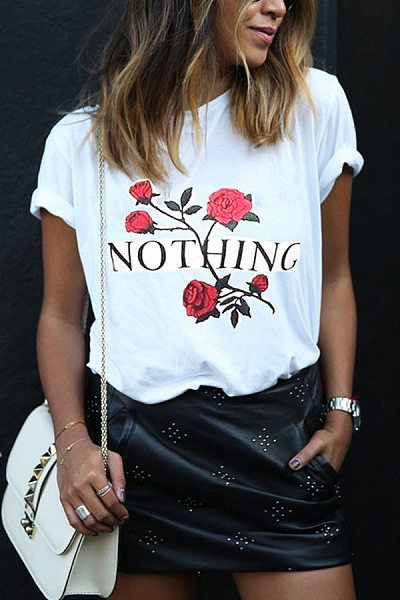 Casual Lady Rose Flower Letter Print T-Shirt