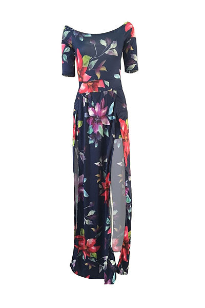 Off Shoulder  Backless Slit  Printed Maxi Dresses