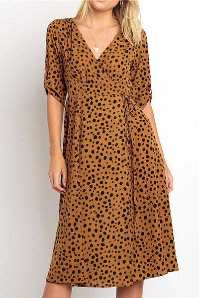 Fashion Casual Polka Dot V-Neck Half Sleeves Maxi Dress