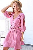Surplice  Belt  Plain  Long Sleeve Casual Dresses