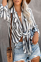 V Neck  Flap Pocket  Striped Blouses