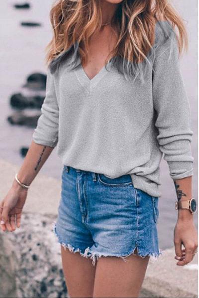 V Neck Knit  Plain Sweaters