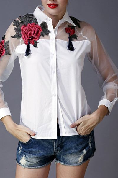 Turn Down Collar Embroidery Mesh Patchwork Blouse