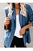 Casual Flip Collar Long Sleeve Denim Blue Suit