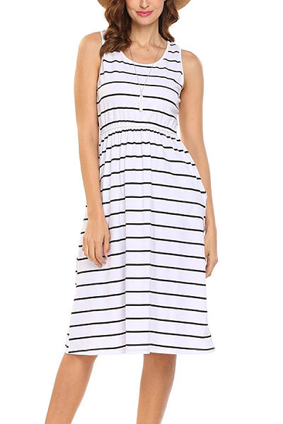 Round Neck  Striped  Sleeveless Casual Dresses