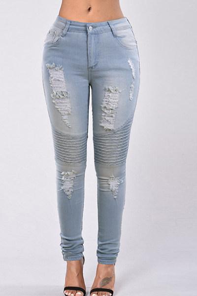 Long Plain Basic Jeans