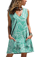 V Neck  Printed  Sleeveless Casual Dresses