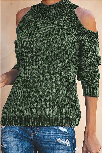 Cold Sleeve Crew Neck Sweater Slim Knitwear